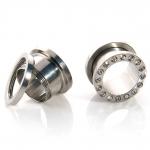 Flesh Tunnel - weiße Kristalle - Stahl - Silber