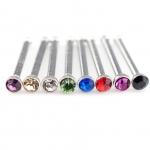Nasenstecker - Stahl - farbige Kristalle - Silber
