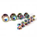 Flesh Tunnel - weiße Kristalle - Stahl - Rainbow