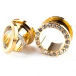 Flesh Tunnel - weiße Kristalle - Stahl - Gold