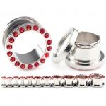 Flesh Tunnel - rote Kristalle - Stahl - Silber
