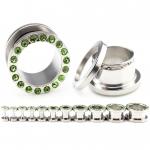 Flesh Tunnel - grüne Kristalle - Stahl - Silber