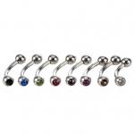 Augenbrauenpiercing - farbige Kristalle - Stahl - Silber
