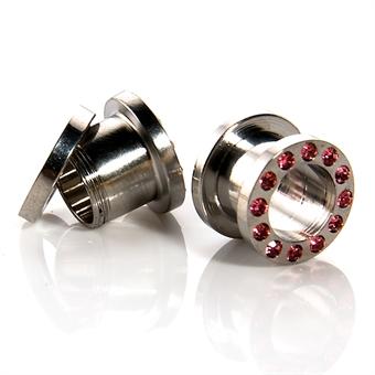 Flesh Tunnel - rosa Kristalle - Stahl - Silber 14,0 mm