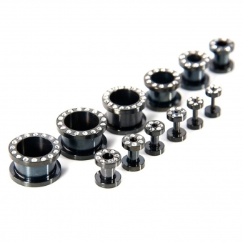 Flesh Tunnel - weiße Kristalle - Stahl - Schwarz 2,4 mm