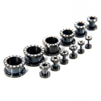 Flesh Tunnel - weiße Kristalle - Stahl - Schwarz 10,0 mm