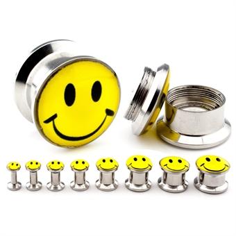 Plug - Smiley - Stahl  - Silber