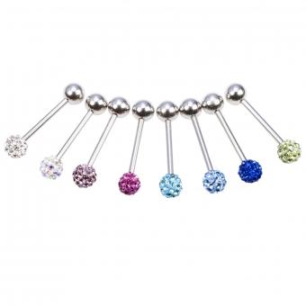 Zungenpiercing - farbige Kristalle  - Stahl - 15 mm