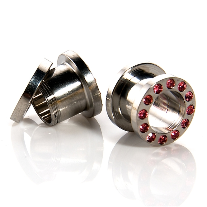 Flesh Tunnel - rosa Kristalle - Stahl - Silber 3,0 mm
