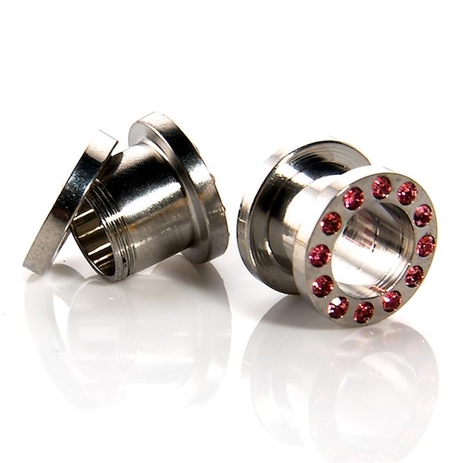 Flesh Tunnel - rosa Kristalle - Stahl - Silber 10,0 mm