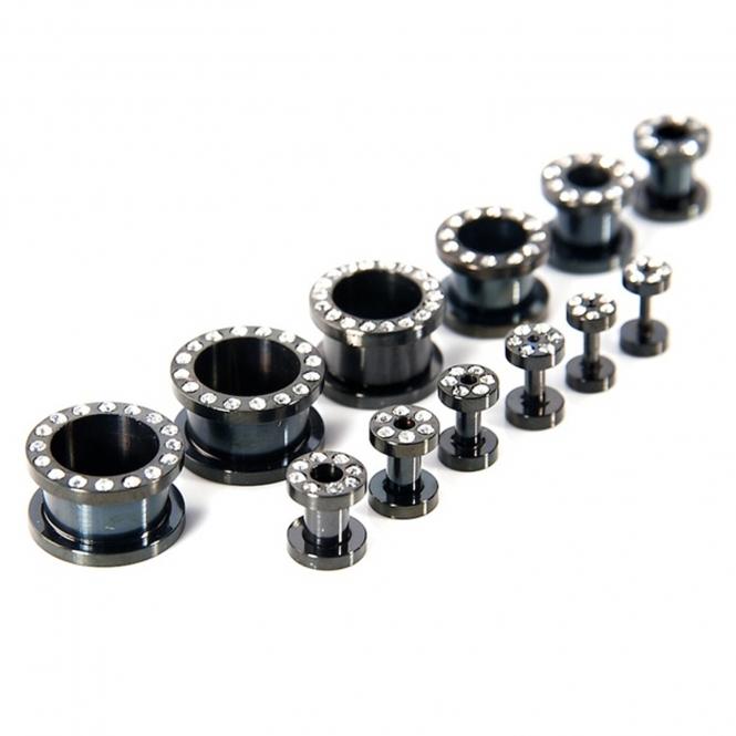 Flesh Tunnel - weiße Kristalle - Stahl - Schwarz 14,0 mm