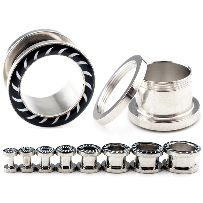 Flesh Tunnel - Zebra - Stahl - Silber