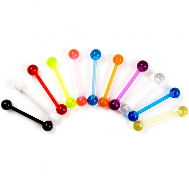 Zungenpiercing - farbige Kugeln - Kunststoff - 16 mm