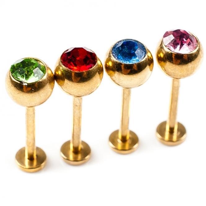 Lippenpiercing - farbige Kristalle - Stahl - Gold