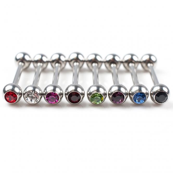 Zungenpiercing - farbige Kristalle - Stahl - Silber - 15 mm